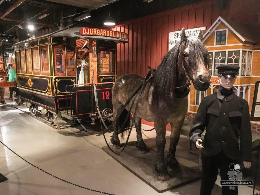Tramvai tras de cal, Muzeul Transportului, Stockholm