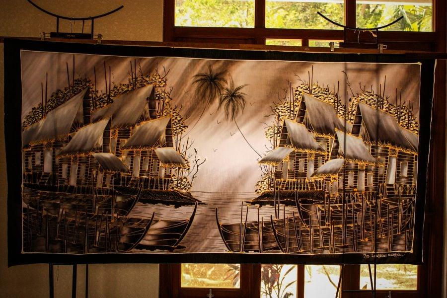 Pictură tehnica batic pe mătase