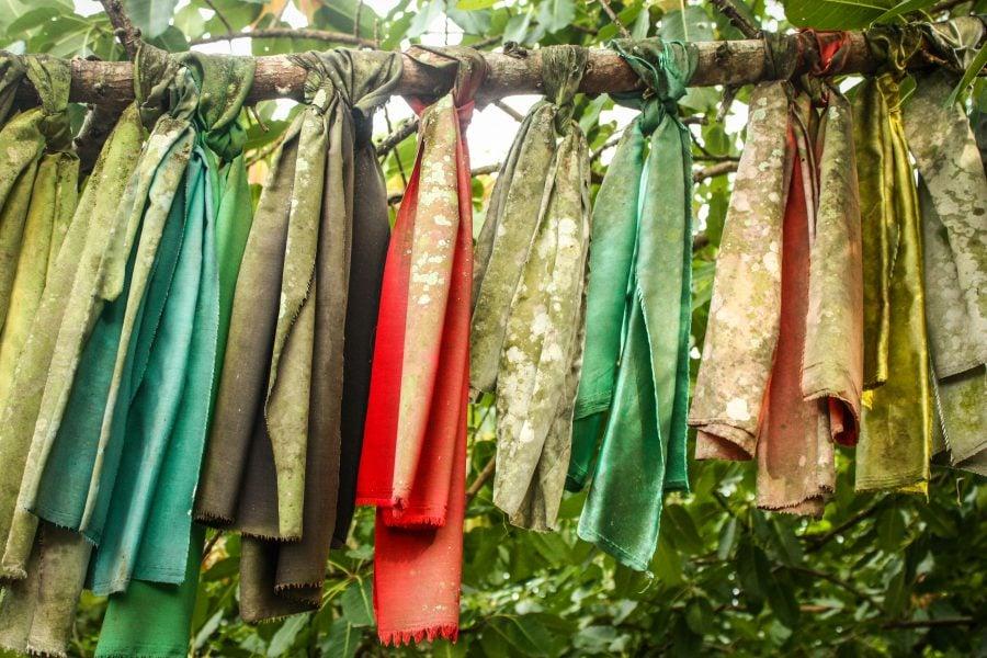 Steaguri în templu copacului din Bon Ton, Langkawi