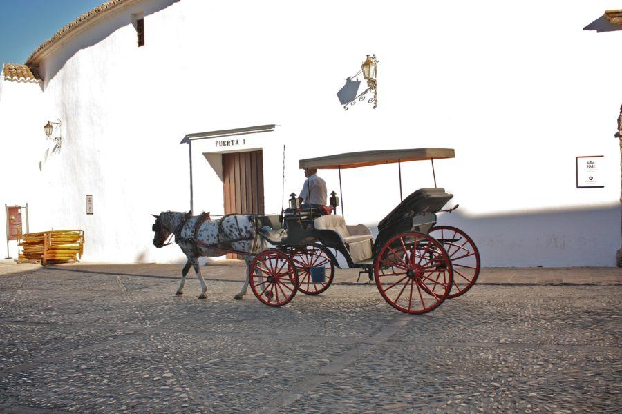 Trasură pe o stradă din Ronda, Spania
