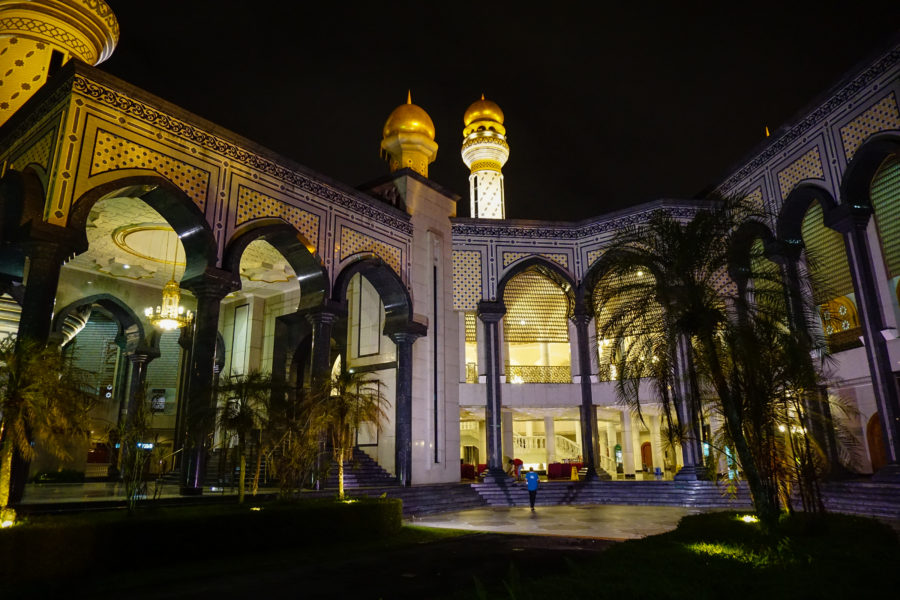 Beautiful mosque at night in Brunei