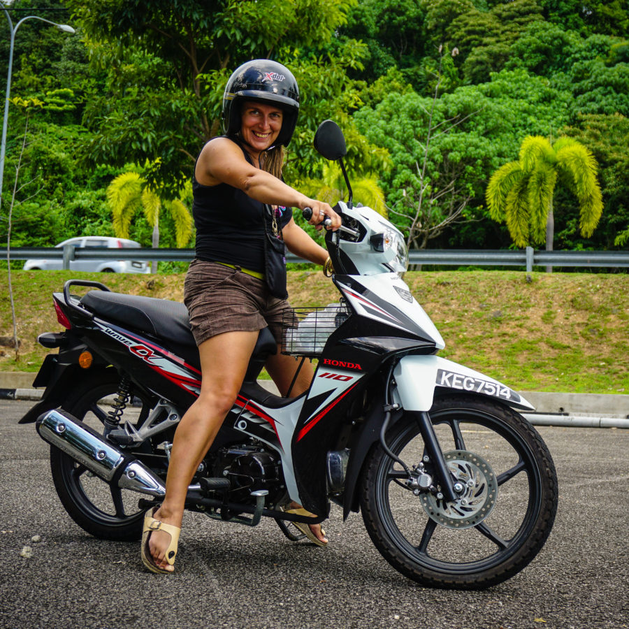 Ada on a Honda Wave Alpha 110cc