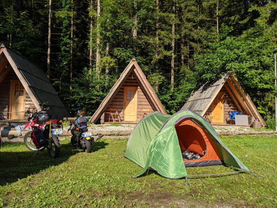 Avtokamp Smica camping, tent and motorcycles, Slovenia