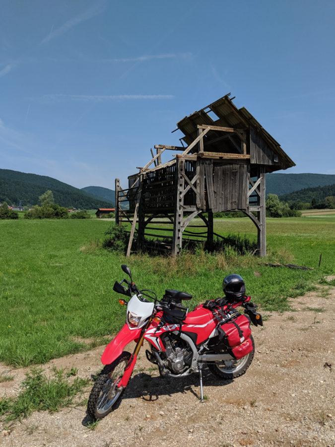 CRF250L and barn, Dolenjske Toplice, Slovenia