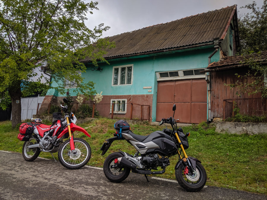CRF250L and Grom in a village in Romania