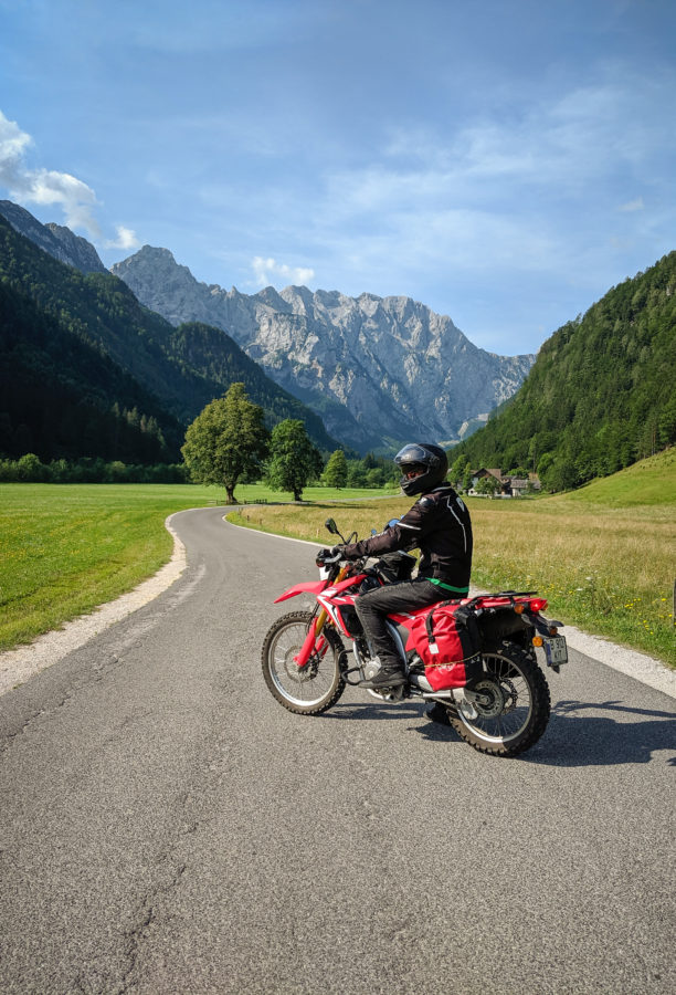 CRF250L on road to Logarsca dolina, Slovenia