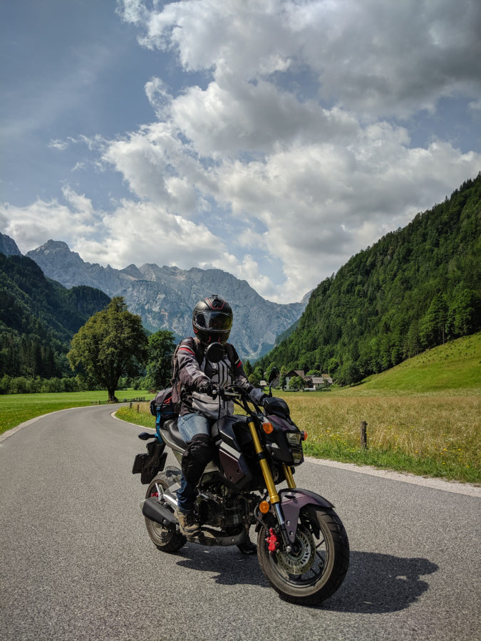 Grom motorcycle on road to Logarska dolina, Slovenia