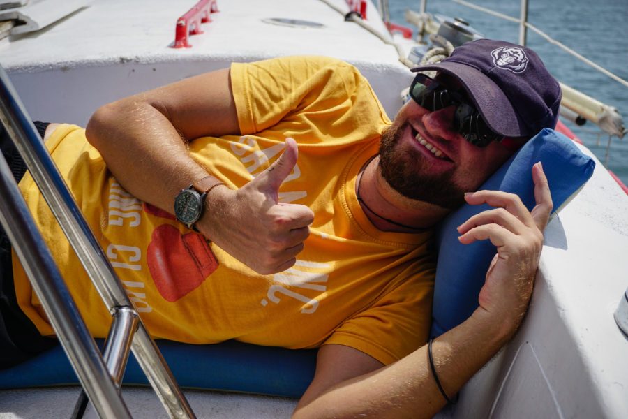 Happy at sea and seasick