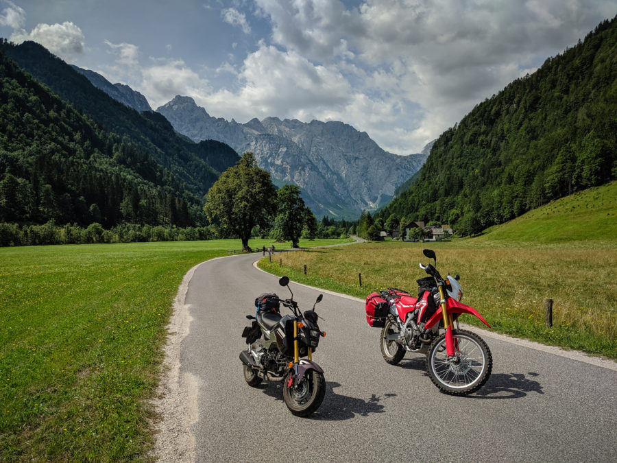 Honda motorcycles at Logarska dolina, Slovenia