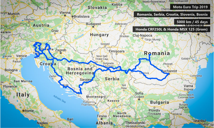 Map of moto euro trip 2019