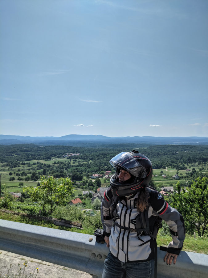 Motorcycle girl, between Croatia and Slovenia