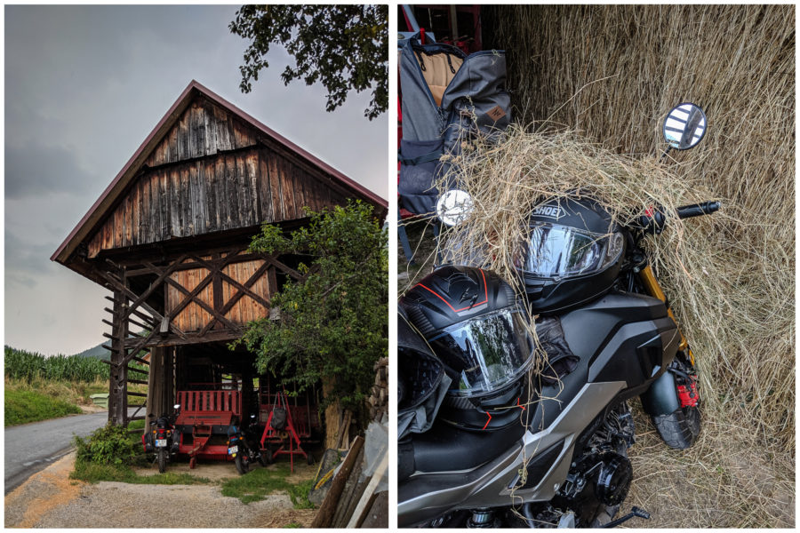 Sheltering motorcycles from the rain in a barn