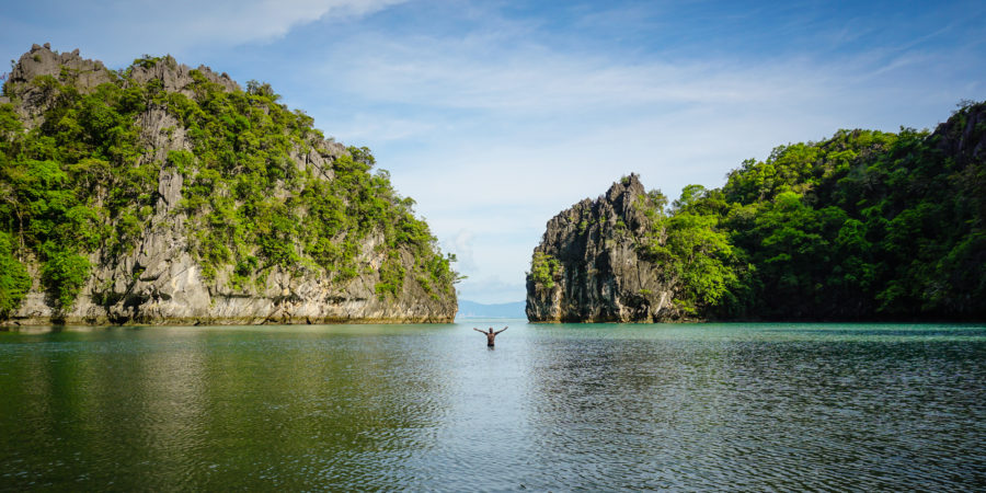 Standing in shallow water in Tarutao